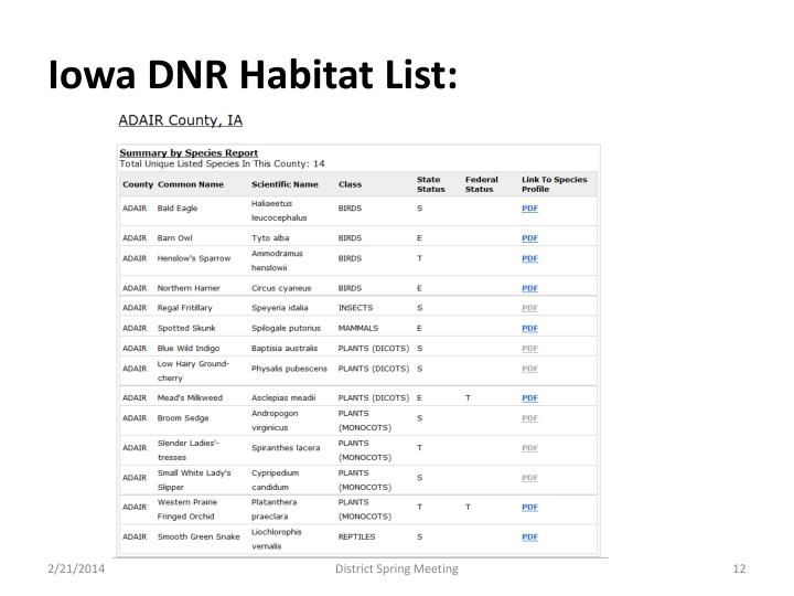 Iowa DNR Habitat List: