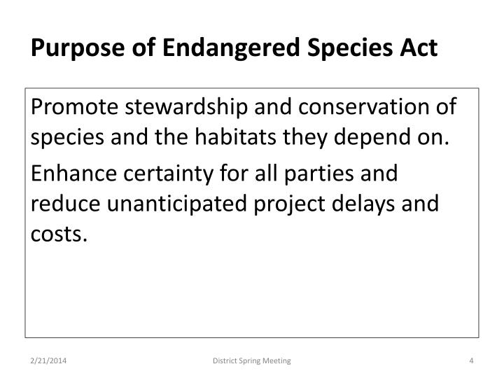 Purpose of Endangered Species Act