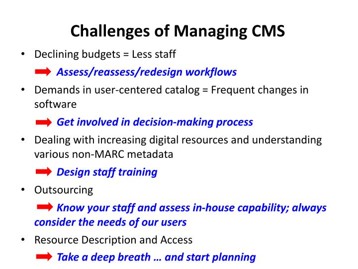 Challenges of Managing CMS