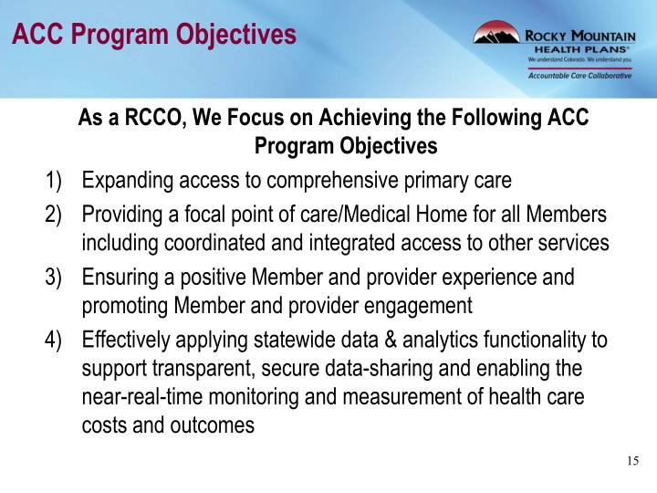 ACC Program Objectives