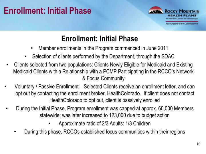Enrollment: Initial Phase