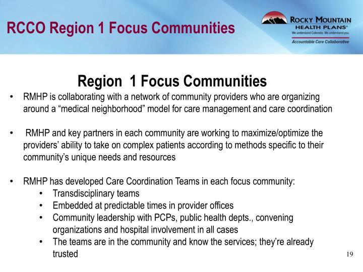 RCCO Region 1 Focus Communities