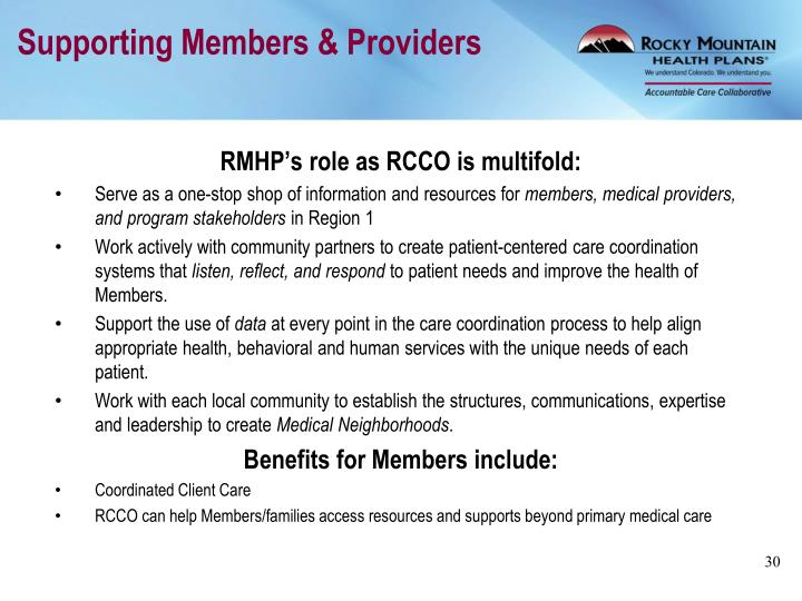 Supporting Members & Providers