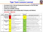tiger team lessons learned