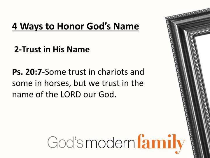4 Ways to Honor God's