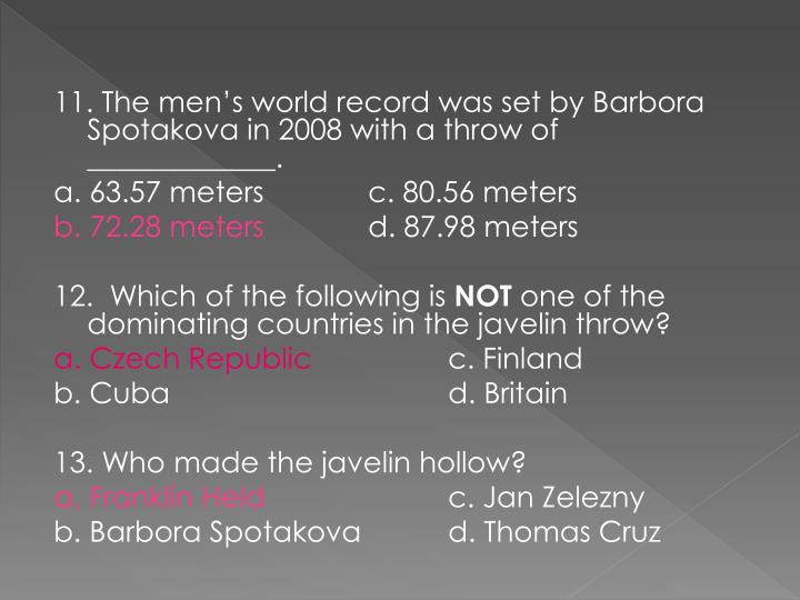 11. The men's world record was set by