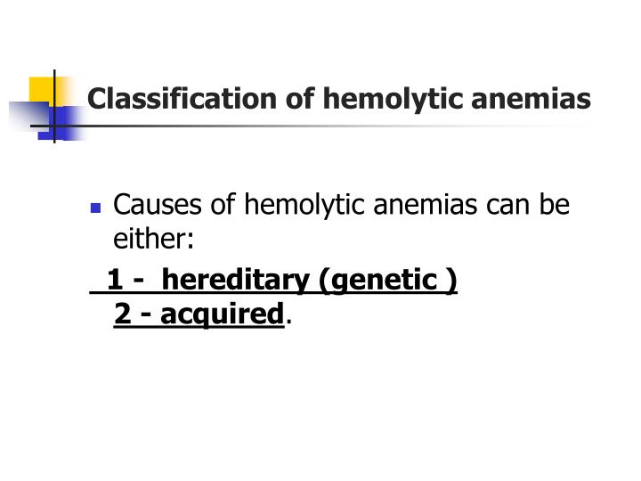 Classification of hemolytic