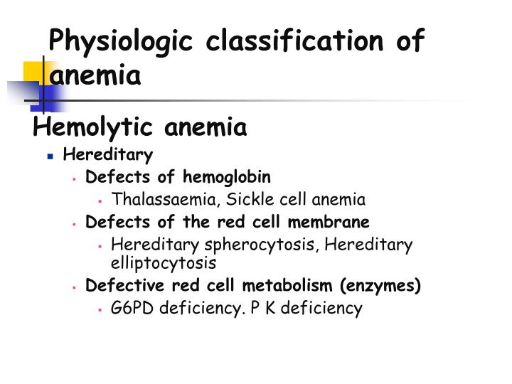 Physiologic classification of anemia
