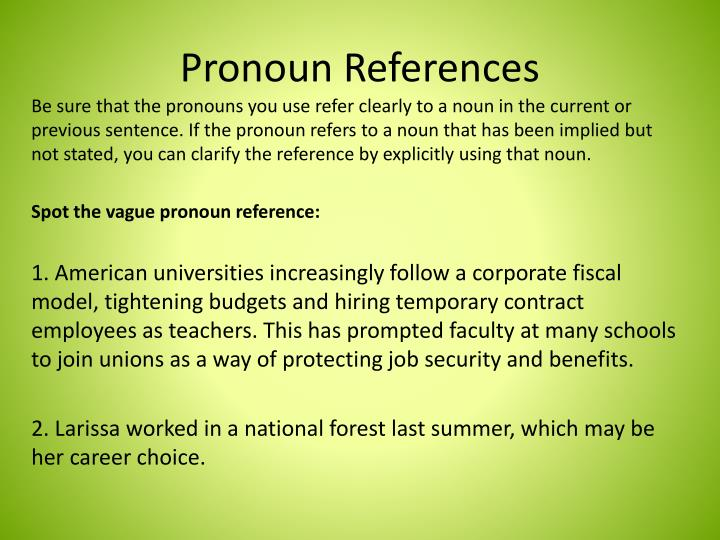 Pronoun References