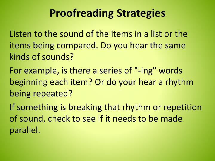 Proofreading Strategies