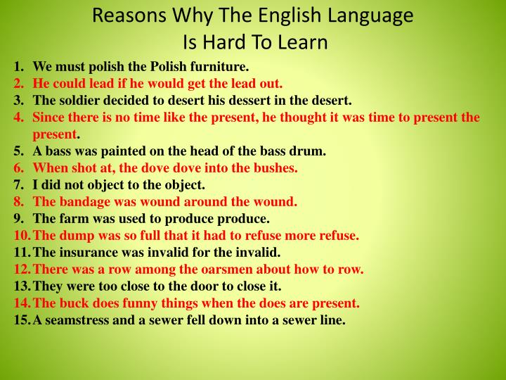 Reasons Why The English Language