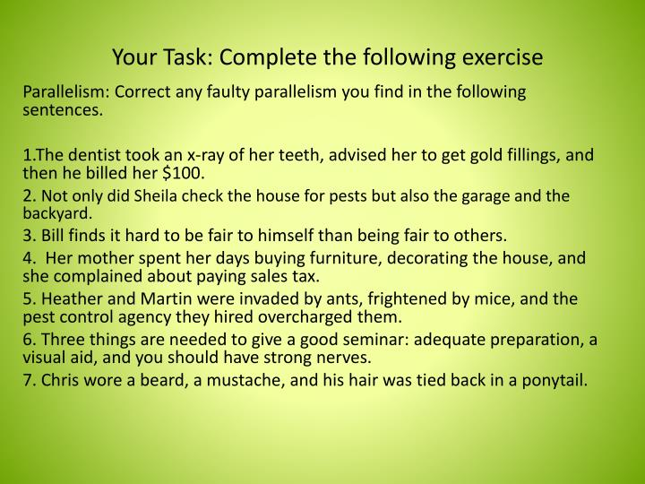 Your Task: Complete the following exercise
