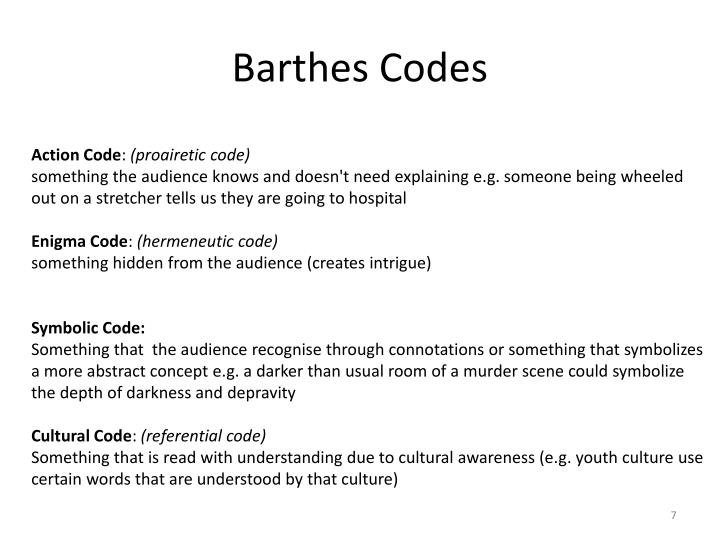 Barthes Codes