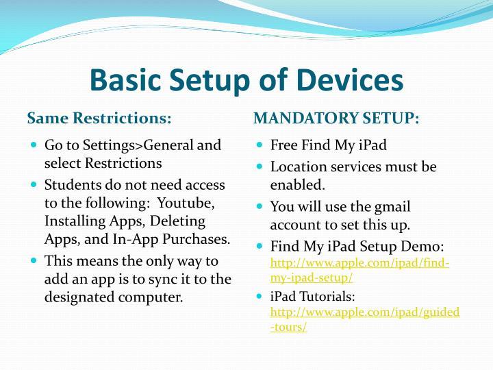 Basic Setup of Devices