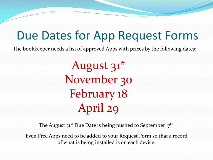 Due Dates for App Request Forms