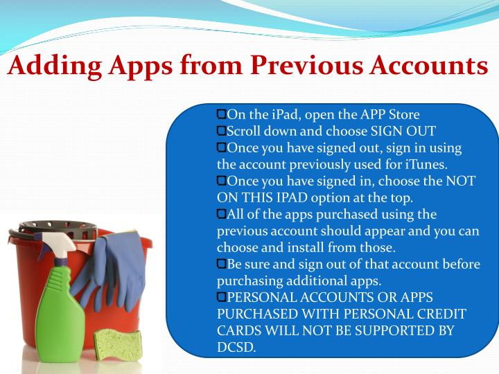 Adding Apps from Previous Accounts