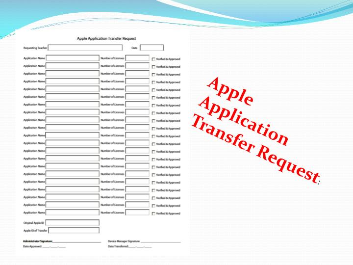 Apple Application Transfer Request