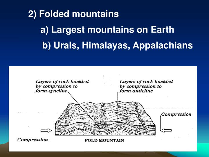 2) Folded mountains