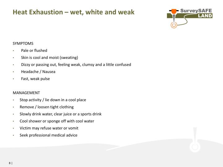 Heat Exhaustion – wet, white and weak