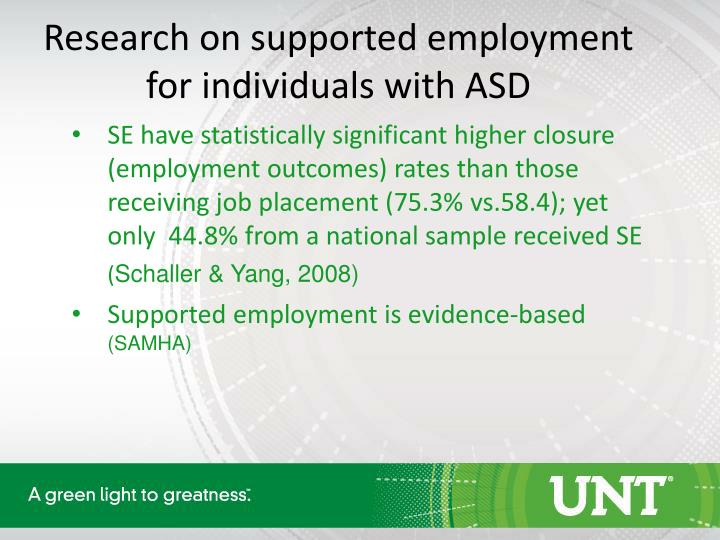 Research on supported employment for individuals with ASD