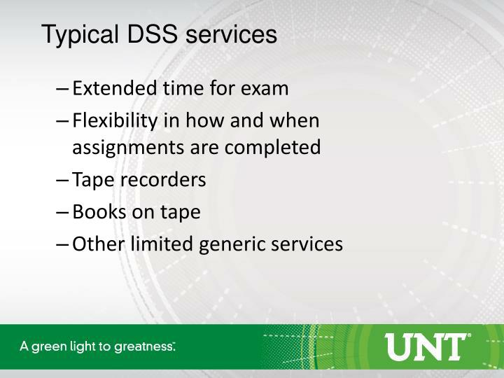 Typical DSS services