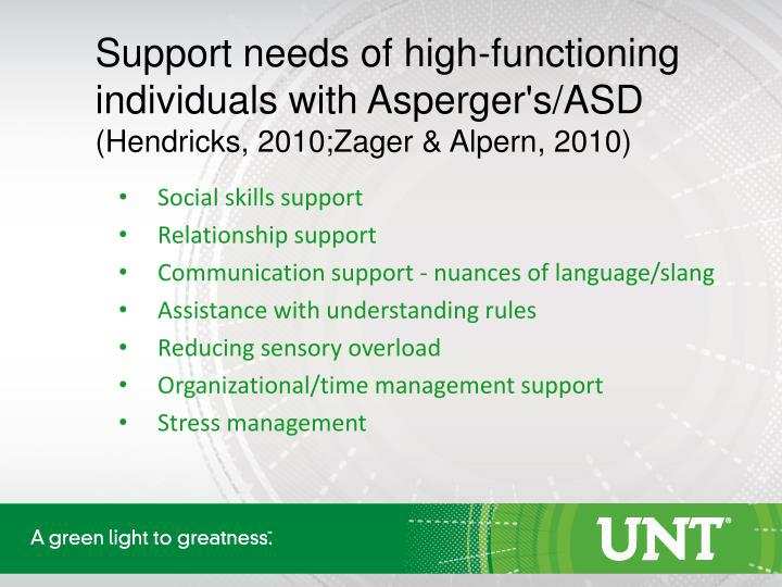 Support needs of high-functioning individuals with Asperger's/ASD