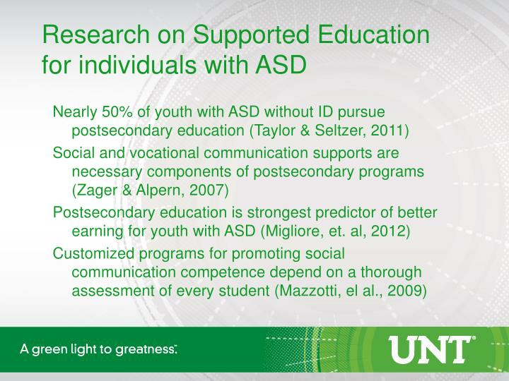 Research on Supported Education for individuals with AS