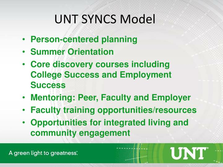 UNT SYNCS Model