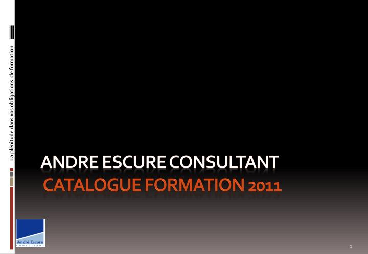 Andre escure consultant catalogue formation 2011