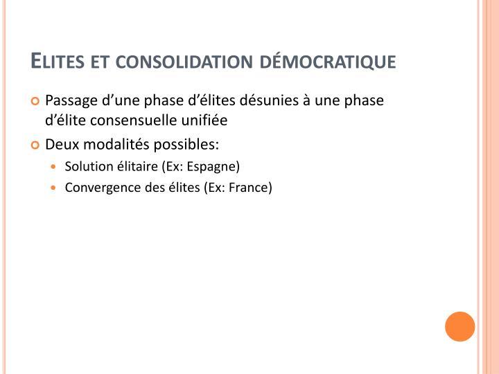 Elites et consolidation démocratique
