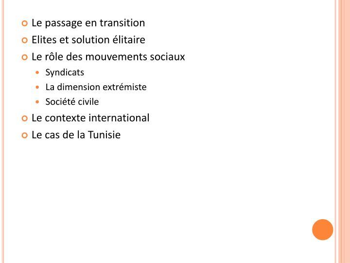Le passage en transition