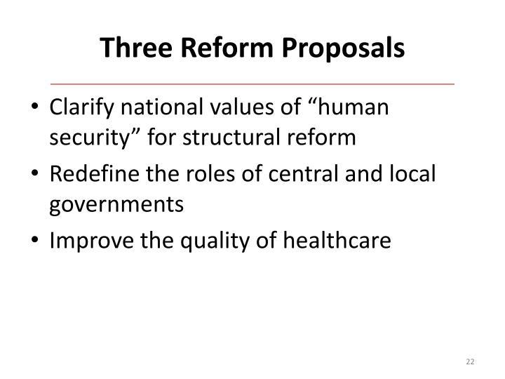Three Reform Proposals