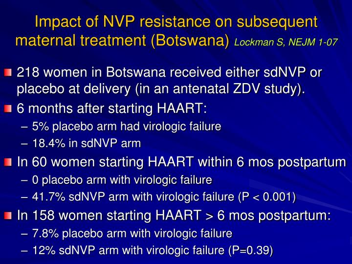 Impact of NVP resistance on subsequent maternal treatment (Botswana)