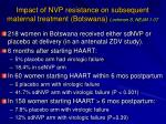 impact of nvp resistance on subsequent maternal treatment botswana lockman s nejm 1 07
