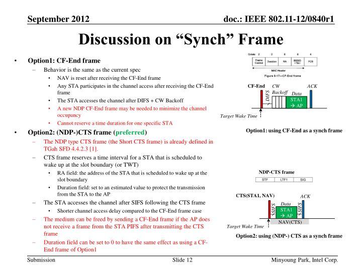 Option1: CF-End frame