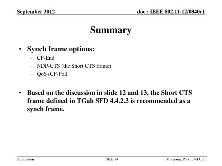 Synch frame options: