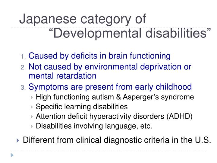Japanese category of developmental disabilities