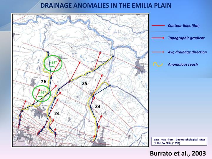 DRAINAGE ANOMALIES IN THE EMILIA PLAIN