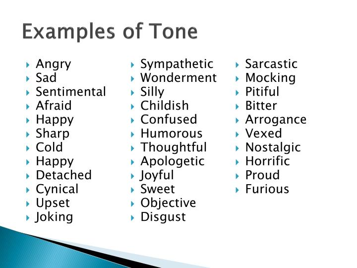 Examples of Tone