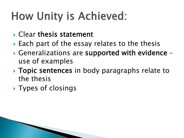 How Unity is Achieved: