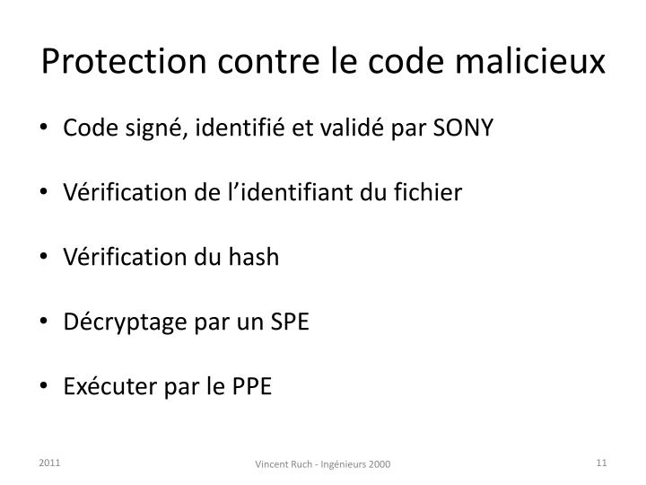 Protection contre le code malicieux