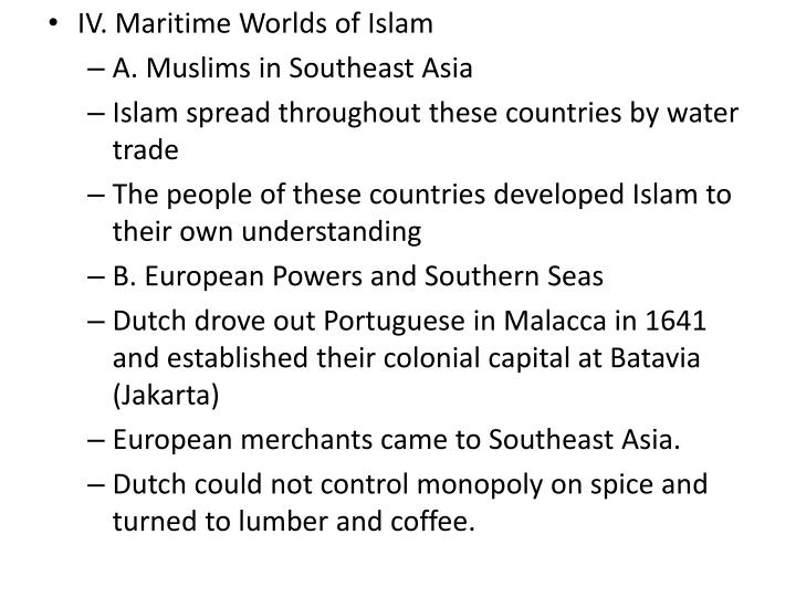 IV. Maritime Worlds of Islam