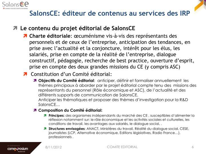 SalonsCE: éditeur de contenus au services des IRP
