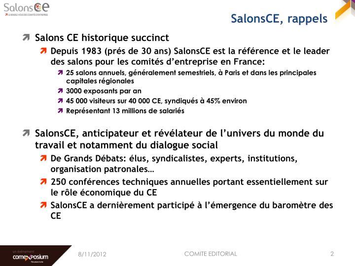 SalonsCE, rappels
