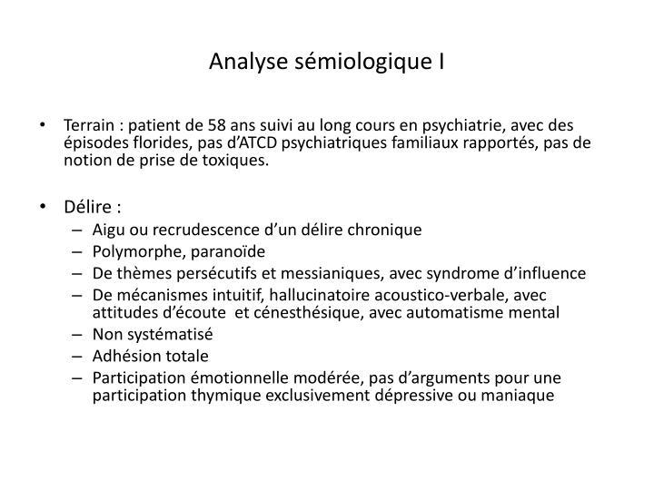 Analyse sémiologique I