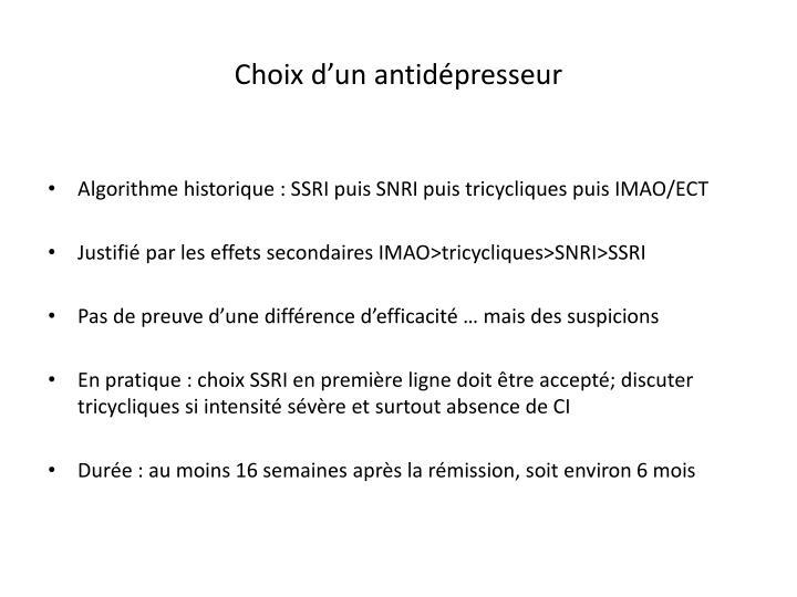 Choix d'un antidépresseur