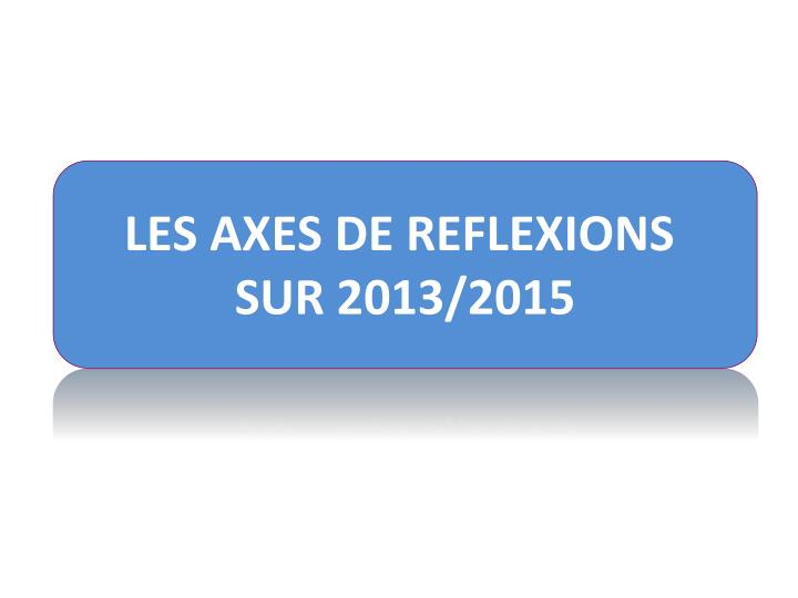 LES AXES DE REFLEXIONS
