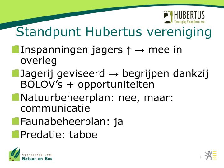 Standpunt Hubertus vereniging