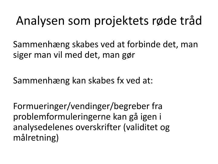 Analysen som projektets røde tråd