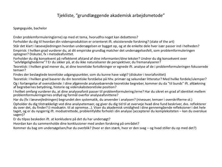 """Tjekliste, """"grundlæggende akademisk arbejdsmetode"""""""